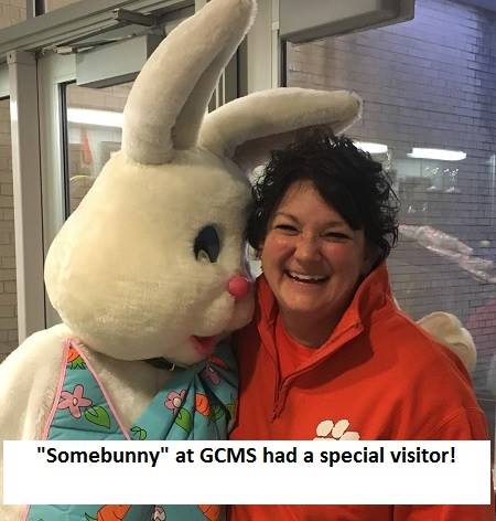 Image of Easter Bunny with Hallie Booth, Principal