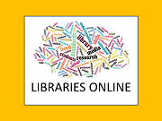 link to Libraries Online with word cloud of library words