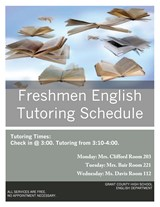 Freshmen English Tutoring Schedule