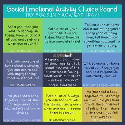 Bingo card with various social emotional tasks